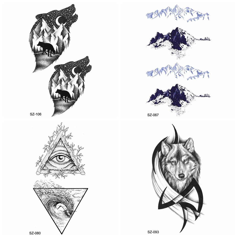 Small Snowberg Fake Tattoo Black Wolf Men Arm Temporary Tattoo Stickers Women Mountain Triangle Waterproof Tatoos Hands Totem