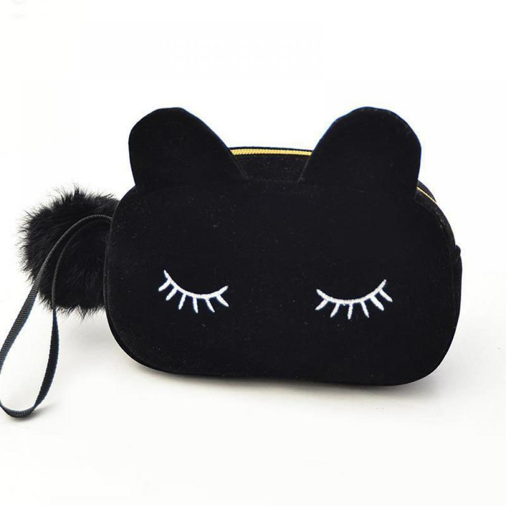 ISKYBOB Portable Cartoon Cat Coin Storage Case Travel Makeup Flannel Pouch Cosmetic Bag Cases For Women Girls