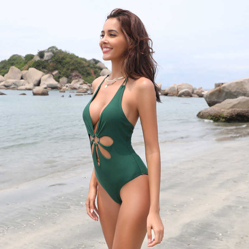 0390ae70a55 ... SHEKINI Women's Sexy V Neck High Cut Halter One Piece Backless Bikini  Swimsuits ...