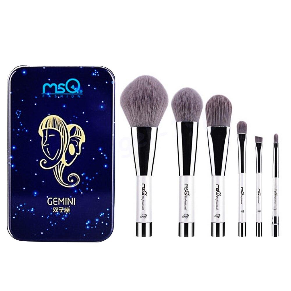6 Pcs Makeup Kosmetik Serat Arang Bambu Brush Blush Powder Foundation Eye Shadow Alis Bibir Alis Mata Kit dengan Besi Case Gemini-Internasional