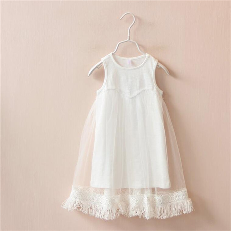 Lollas Summer Girls Mesh Dress Trade Bamboo Cotton Mesh Lace Sleeveless Vest D