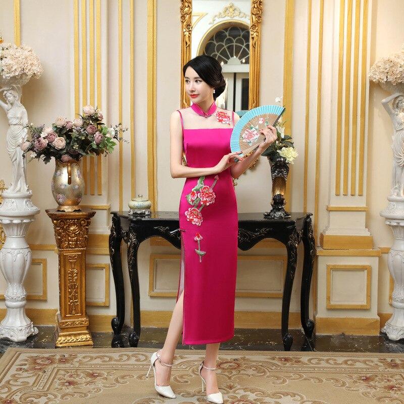 pengfei hang's store Hot  Sale Sleeveless Satin Chinese Style Women's Slim Above ankle Qipao Drees Mandarin Collar Formal Cheongsam S-XXXL C0142-B