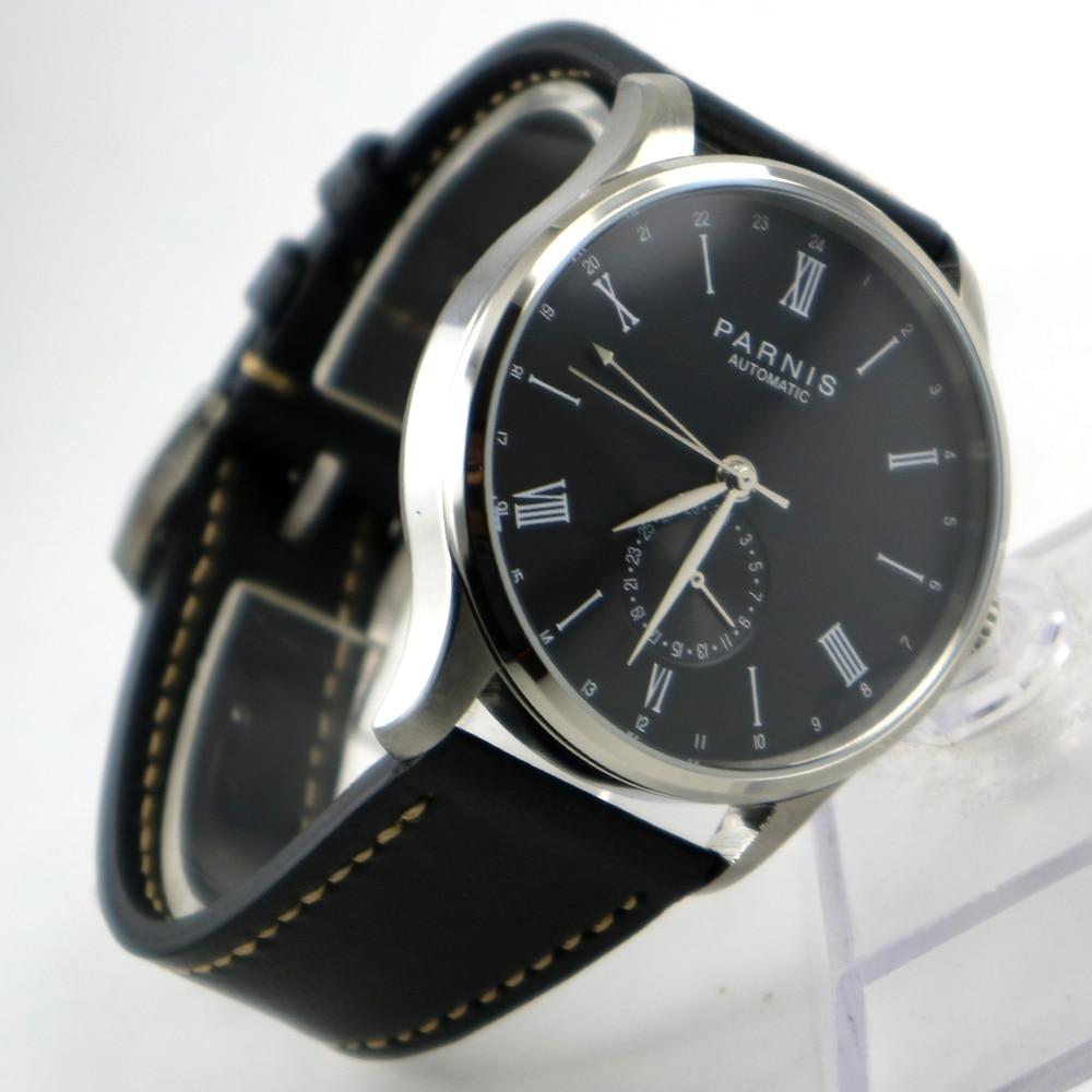цена 42mm Parnis Black dial 24 Hours Handset ST 1690 Automatic Movement Men Watch онлайн в 2017 году