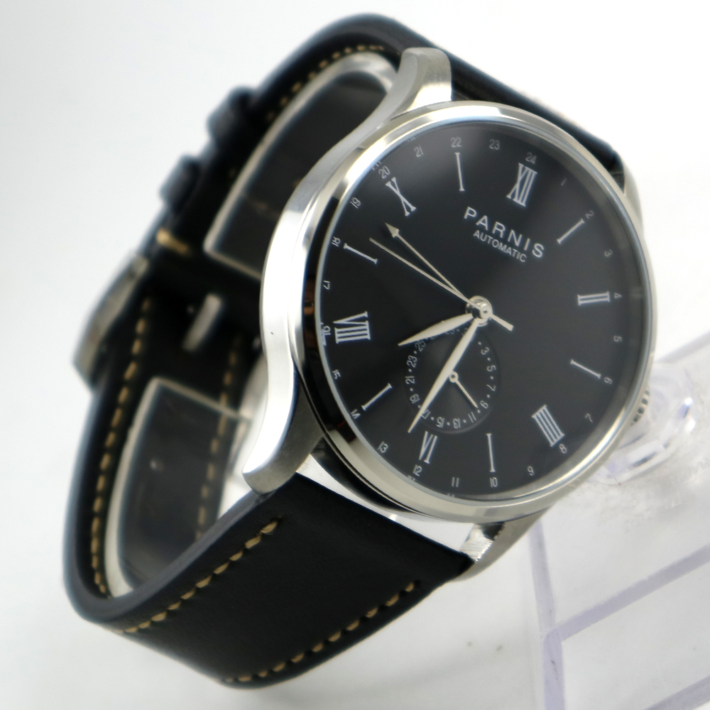 42mm Parnis Black dial 24 Hours Handset ST 1690 Automatic Movement Men Watch