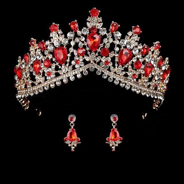 Wedding Crown Queen Bridal Tiara Bridal With Earring Luxury Rhinestone Headband Diadem Bride Hair Jewelry Ornaments 2