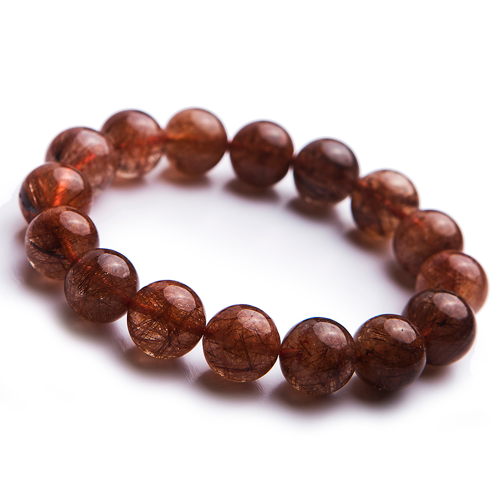 Genuine Natural Copper Hair Rutilated Quartz Gemstone Stretch Round Crystal Beads Bracelet 13.5mm AAAAAGenuine Natural Copper Hair Rutilated Quartz Gemstone Stretch Round Crystal Beads Bracelet 13.5mm AAAAA