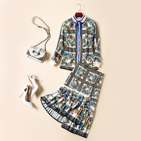2018 Women's Autumn Designer Runway Suits European And American New Round Neck Collar Print Shirt + Pleated Irregular Skirt Sets