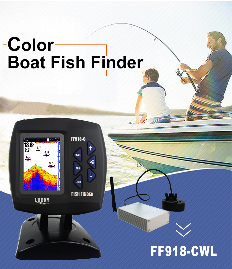 Upgrade Lucky Color Wireless Boating FF918-CWL Fish Finder 300m/980ft Wireless Operating Range Fishing Remote Control Fishfinder