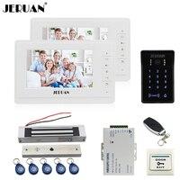JERUAN 7 Inch LCD Video Doorphone Intercom System Kit 2 Monitor New RFID Waterproof Touch Password