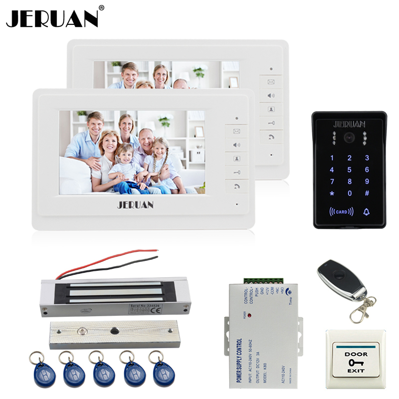 JERUAN 7 inch LCD video doorphone intercom system Kit 2 monitor New RFID waterproof Touch password keypad Camera Magnetic lock rfid keyboard ip65 waterproof video doorphone intercom system for 3 apartments with 7 color lcd video intercom system in stock