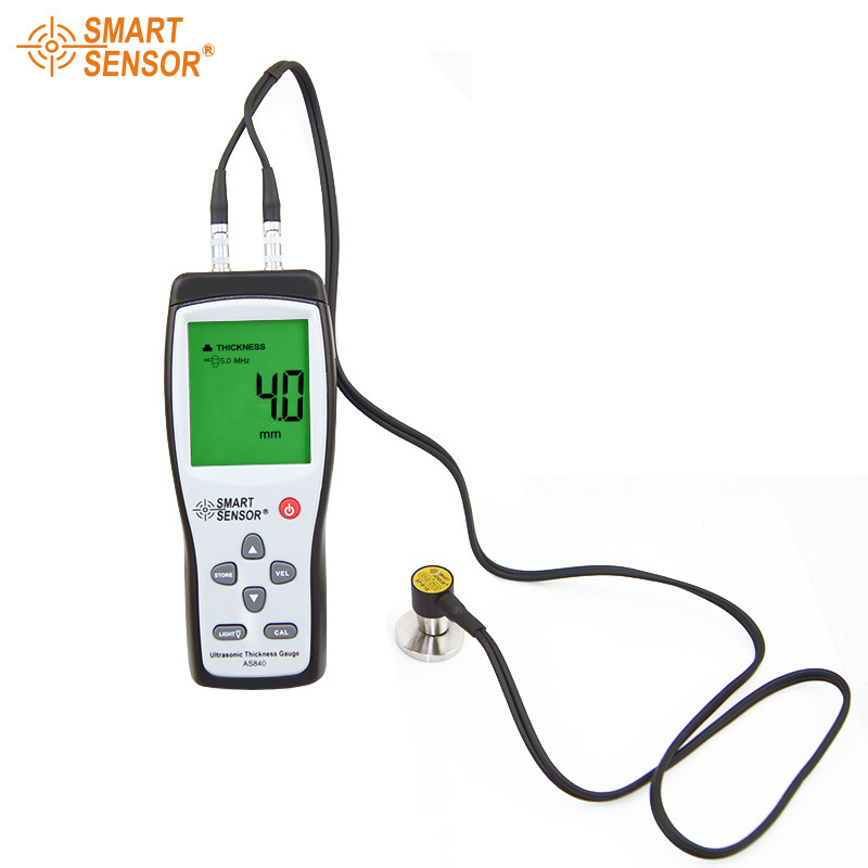 Digital Ultrasonic Thickness Gauge Sound Velocity Meter Metal Depth tester 1.2-225mm Smart Sensor AS840 with LCD display