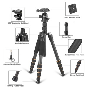 Image 3 - Professional Q666C portable travel carbon fiber tripod Monopod&Ball head for DSLR SLR digital camera