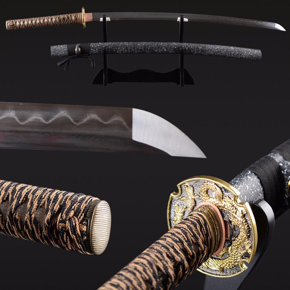 Plié En Acier Trempé Clay Vintage Japonais Samurai Épée À La Main Tranchant Katana Pleine Saveur de Sharp Délicate Décoration de La Maison