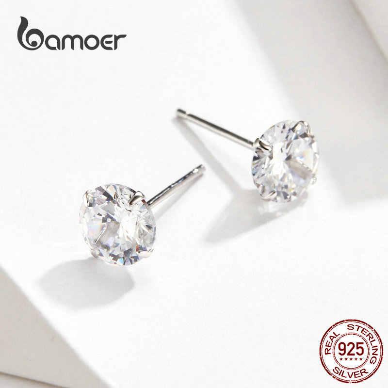 Bamoer venda quente básico casamento brincos do parafuso prisioneiro prata sólida 925 claro zircônia cúbica 7mm feminino statement jewelry bse166