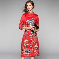 Chinese Bride Wedding Qipao 2016 Red Embroidery Dress Women Cheongsam Vestidos Vintage Party Dresses Robe Longue