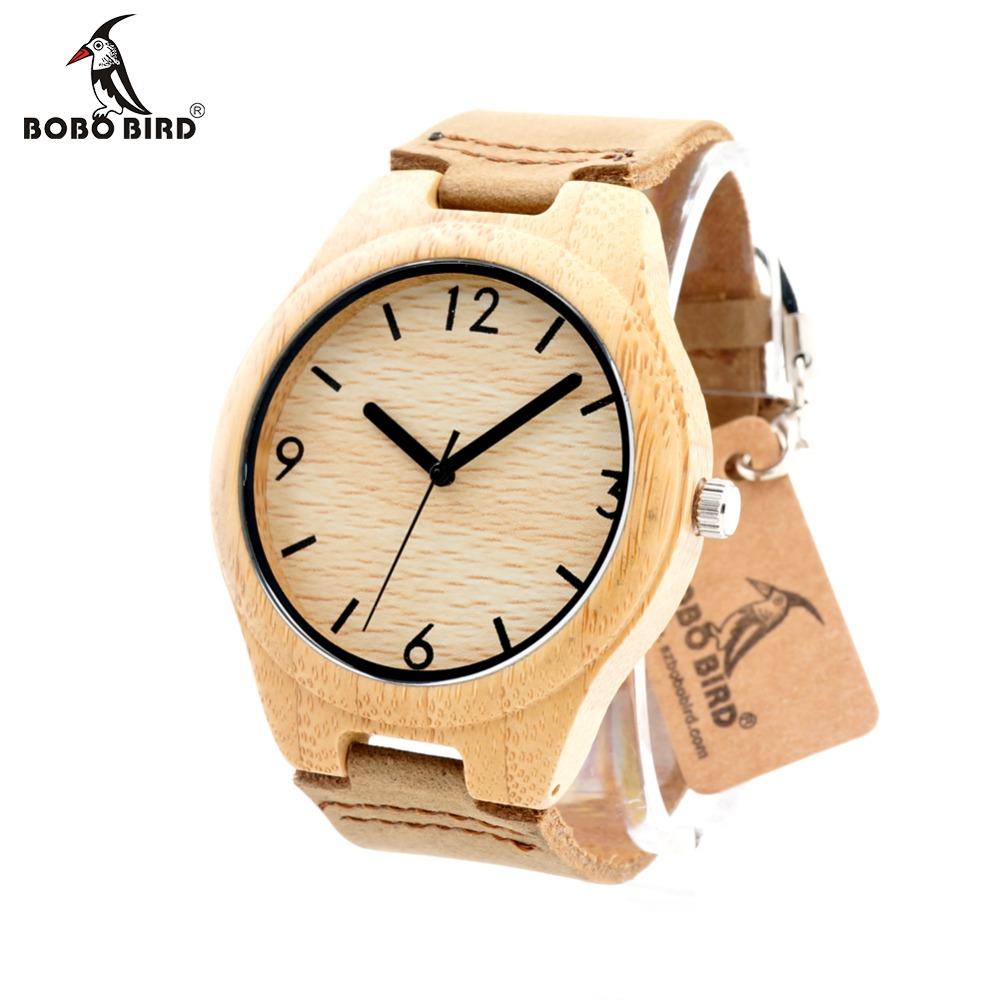 Prix pour Bobo bird f15 japonais 2035 mouvement quartz bambou en bois montres doux réel Bande de Cuir Femmes Robe Montre pour Hommes Avec la Boîte OEM