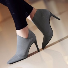 Hot Sale Pointed Toe High Heels Women Boots Basic Shoes Autumn And Winter Casual Fitted Female Single Fashion Outwear Shoe DT609