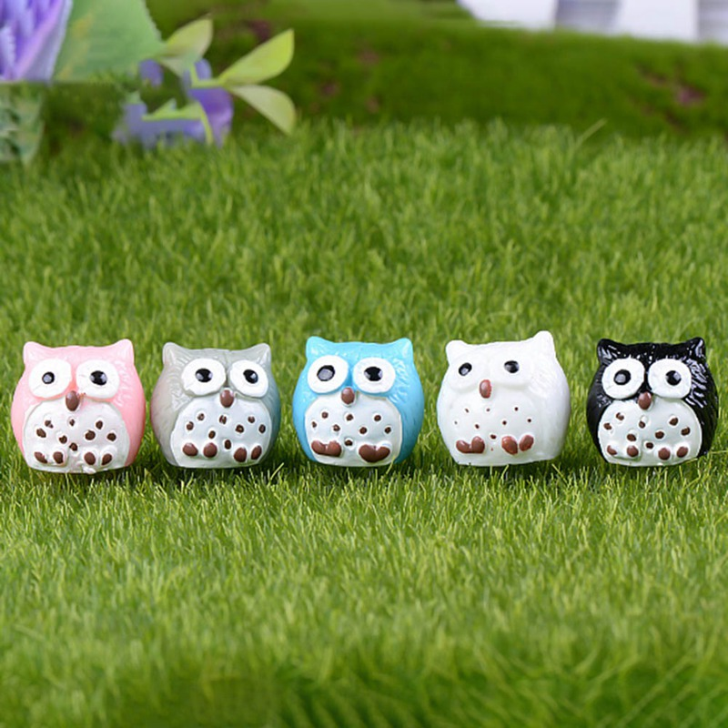 10 Pcs Artificial Animal Owl Miniature Fairy Garden Home Houses Decoration Mini Micro Landscaping Decor 5 Colors!!