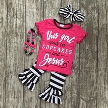 baby girls summer outfits girls this girl runs on cupcakes and jesus clothing children capris Fall clothes with accessories