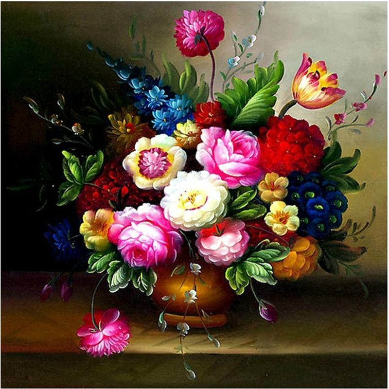 Needlework,DIY Peony Flower Vase Cross-stitch Oil Painting silk Cross stitching For Embroidery kits , Wall Home decor