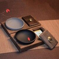 الصلبة الخشب الرجعية منفضة مع غطاء كبير الصينية الإبداعية شخصية غرفة المعيشة ديكور
