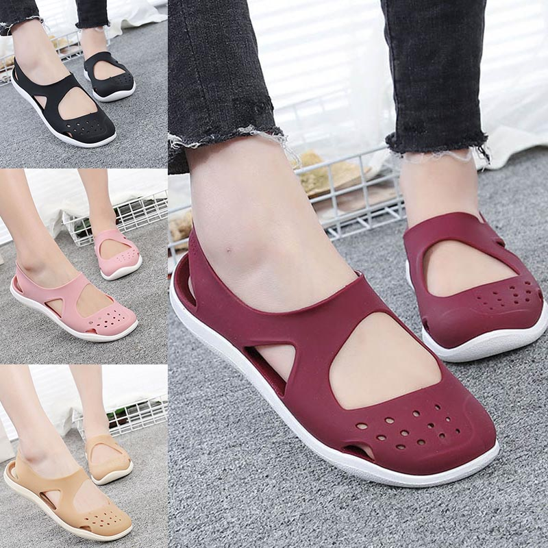 Newly Women Girl Flat Sandals Hollow Out Anti-slip Breathable Portable For Summer Beach SMN88