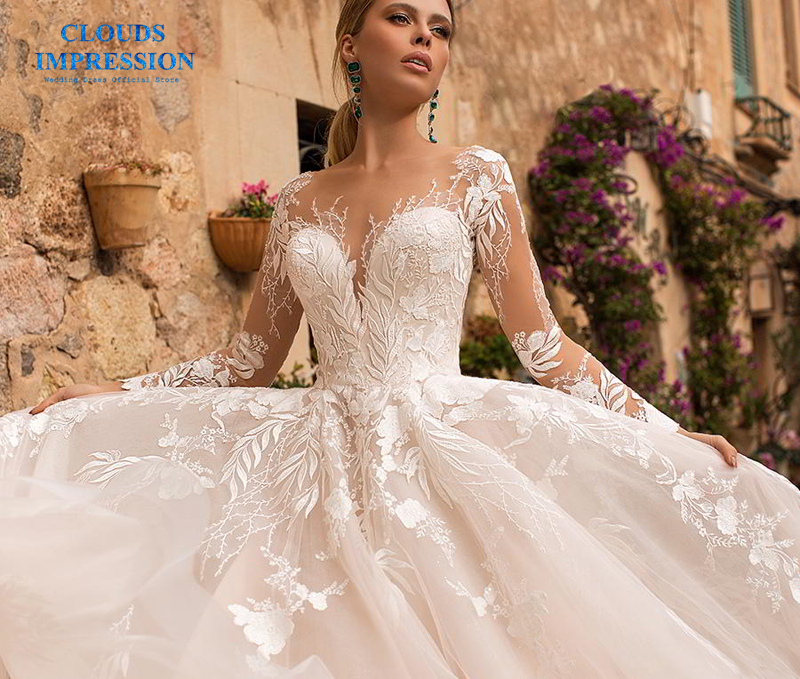 CLOUDS IMPRESSION Sexy Long Sleeves Elegant BOHO Lace Appliques Wedding Dress 2019 Vestido De Novia White Bridal Dress Gown