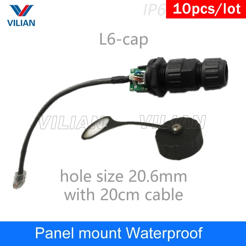 M19 RJ45 gigabit Ethernet Connector IP67 protection waterproof adapter With 20cm cable panel mount interface for