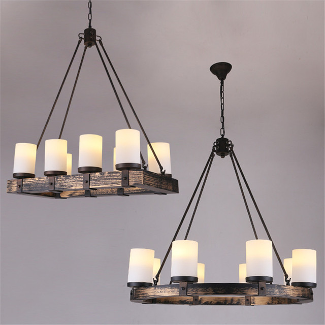 Vintage Wood Pendant Lights Lamp Loft Creative Personality