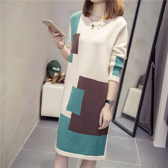 cb3106a3753 Women Autumn Winter Fashion Middle Long Plus Size 3XL Knitwear Sweater Dress  Female Patchwork O Neck A Line Dresses Pullover D10
