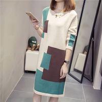 Women Autumn Winter Fashion Middle Long Plus Size 3XL Knitwear Sweater Dress Female Patchwork O Neck A Line Dresses Pullover D10