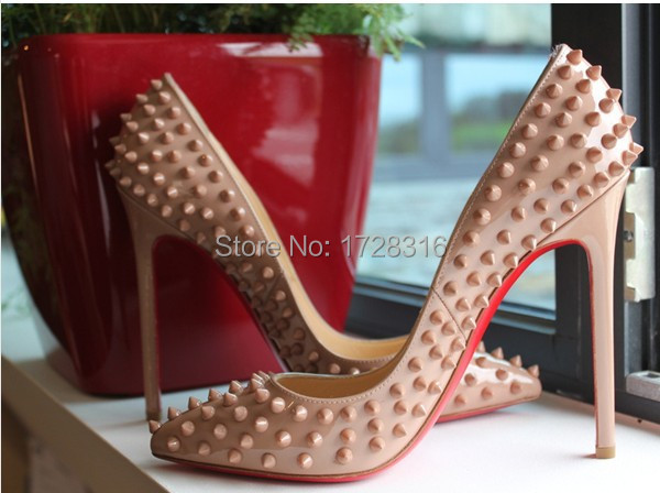 12cm lady nude/black patent leather pointed toe rivets spikes studded pumps pigalle high heels red color bottoms - Super VIP shoe store