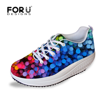 2016 Women Autumn Winter Shoes Swing Shoes Breathable Casual Rocking Shoes Polka Dot Nurse Health Wedges Fitness Lace-up Shoes