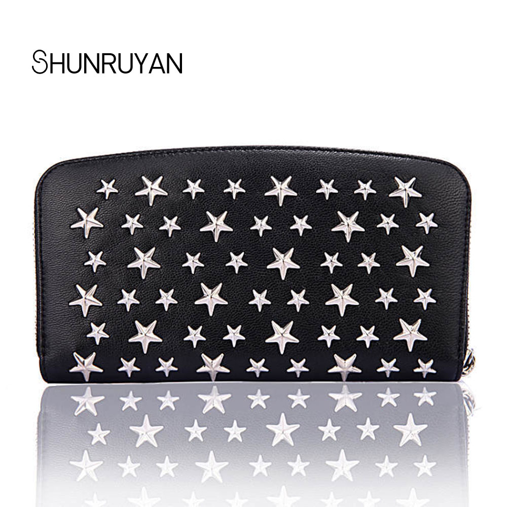 SHUNRUYAN Brand Design Women Genuine Leather Vintage Five Stars Rivets Wallets Long Clutch Wallet Ladies Purse Money Clips Card цена