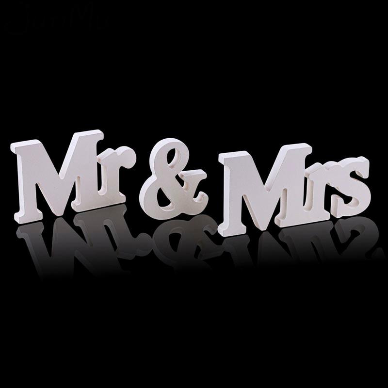 1 Set Effen Hoofdstad Mr & Mrs Houten Letters Voor Bruiloft Banket Decoratie Teken Top Tafel Present Decor Driedimensionale Wit Rijk En Prachtig