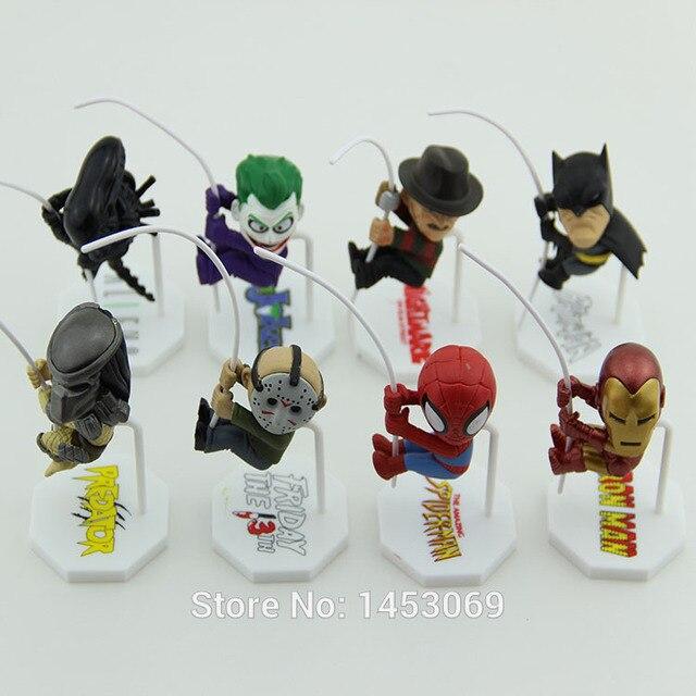 Q Versão do homem-Aranha Batman super-heróis Alienígenas Predadores Coringa Freddy Jason Figura de Ação DO PVC Brinquedos Bonecas 8 pçs/set HRFG282