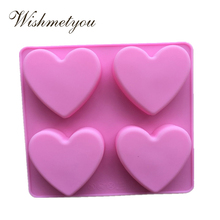 WISHMETYOU Silicone Soap Mold 4 Hole Love Heart Shape Cake Decorating Tools Pudding Bread Chocolate Biscuits Handmade DIY
