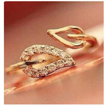 NJ3 The New Fashion Gold-color Leaves Finger Ring for Women Korea Style Adjustable Size Ring Hot Sale Wedding Jewelry Wholesale