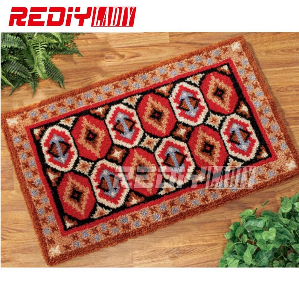 REDIY LADIY loquet crochet tapis tapis de sol mur tapisserie motif africain pré-imprimé toile fil broderie non fini tapis 85x60 cm
