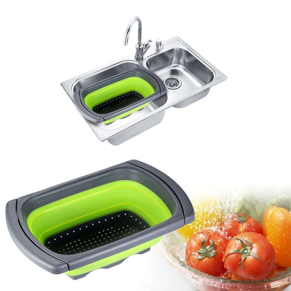Folding Silicone Kitchen Sink Colander Strainer Collapsible Water Drainage Vegetable Fruits Storage Basket Kitchen Accessories