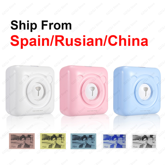 Impressora térmica portátil de bolso, impressora de 58mm para celulares android, ios, navio da espanha/rússia impressoras