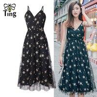 Tingfly Embroidery Stars V neck Black Midi Dress Vintage Lady Elegant Party Dresses Summer Mesh Long Women Vestidos