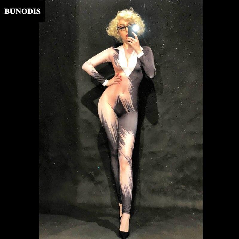 BU180 Women Office Attire 3D Printing Sexy Jumpsuit Nightclub Party Bodysuit Stage Wear Dancer Singer Performance Clothing