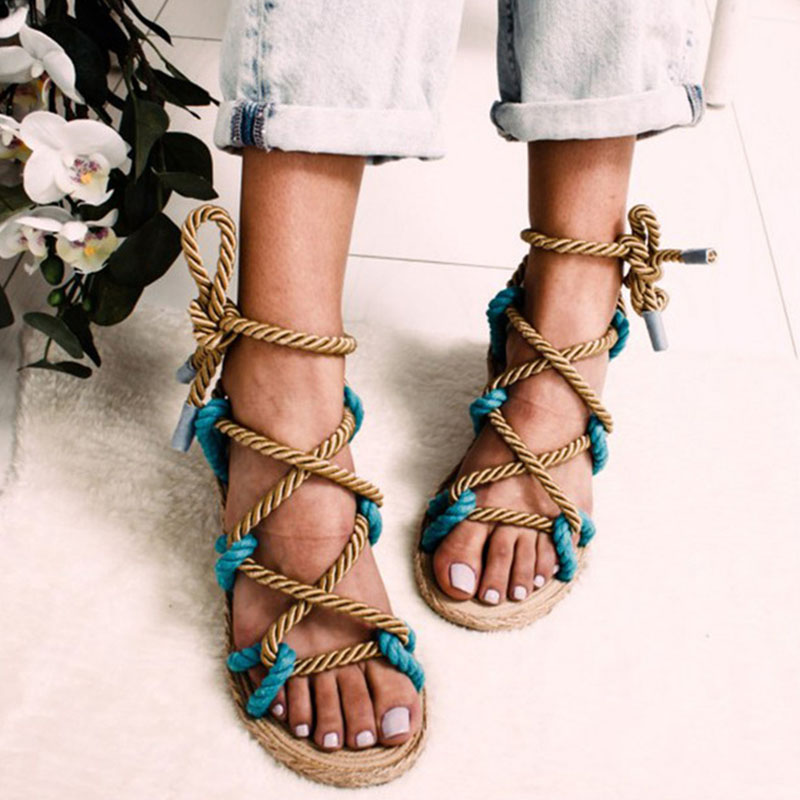 Summer Women Flat Sandals Peep Toe Cross Lace Up Female Hemp Platform Fashion Casual Rome Retro Shoes Ladies Comfort Footwear strappy tie up flat sandals