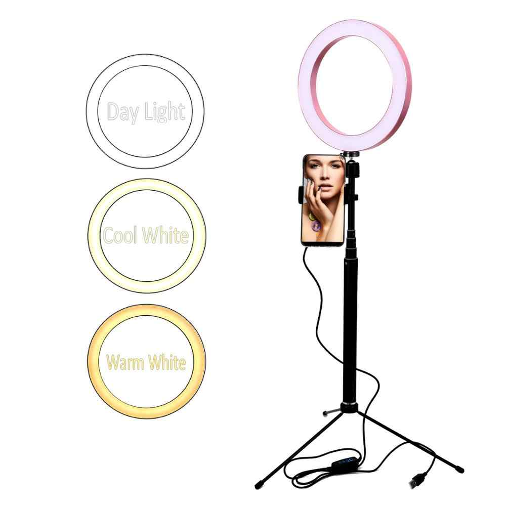 Anneau de lumière Selfie avec trépied et support pour téléphone, lampe à LED maquillage de Salon Youtube 6 ''8'' 10 ''USB 5V 3 mode réglable Dimmable