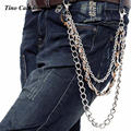 3 Strand Punk Jeans Monedero Llavero Enlace Cadena Pantalones Hiphop Rap Metal Plateado Cadena de Cadena de La Correa De Cuero Marrón KB05