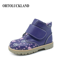 Ortoluckland Toddler Girls Winter Warm Boots Orthopedic Walking Shoes For Children Purple PU Leather Spring Autumn Ankle Boots