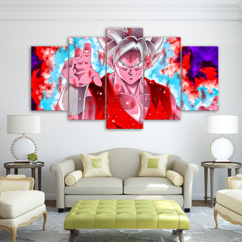 5 Pieces Cartoon Dragon Ball Z Goku Evolution Modern Home Wall Decor ...