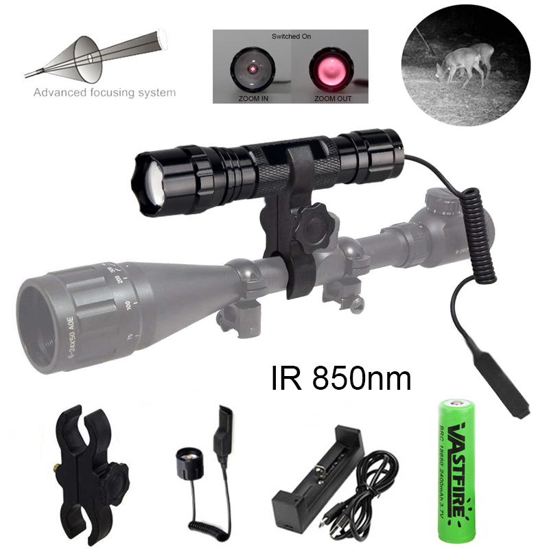 IR 850nm 5w Night Vision Infrared Zoomable LED Flashlight IR Torch To Be Used With Night Vision Device