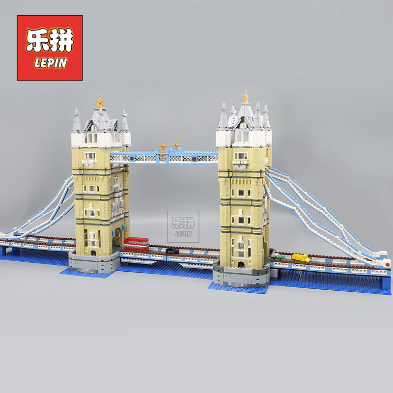Lepin 17004 City Architecture the London Tower Bridge Set Model Building Blocks Creative DIY Toys Compatible 10214 Children Gift lepin 17004 city street london bridge model building kits assembling brick educational gift toys clone 10214